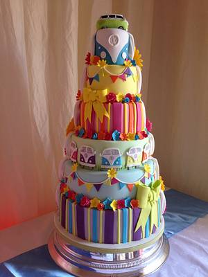 Half & Half bright Wedding cake - Cake by Suzi Saunders