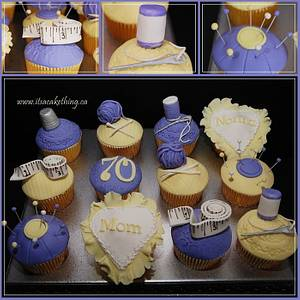 Pretty Sewing/Knitting Cupcakes  - Cake by It's a Cake Thing