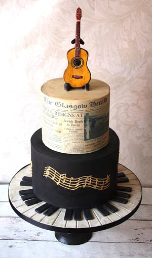 Music themed 70th Birthday cake - Cake by Donnasdelicious