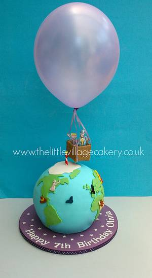 Phileas Fogg and his hot air balloon - Cake by The Little Village Cakery