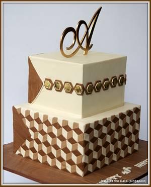 40th Geometric design  - Cake by Jo Finlayson (Jo Takes the Cake)
