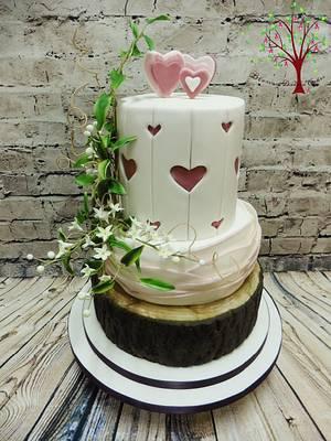 Rustic Hearts Wedding cake - Cake by Blossom Dream Cakes - Angela Morris