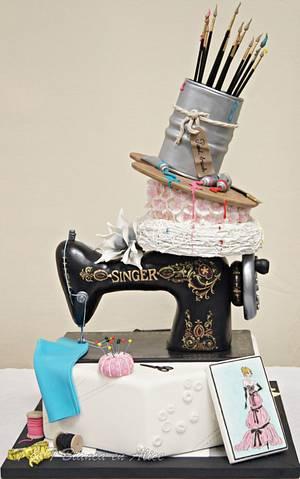 Sewing machine cake, painted, flowers - Cake by Alice van den Ham - van Dijk