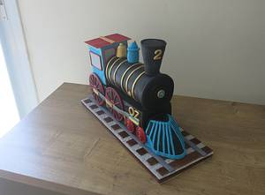 """""""Two -Two"""" Train Engine Cake - Cake by The Garden Baker"""