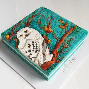 Owlsome Painted Sponge Cake - Cake by Lulu Goh