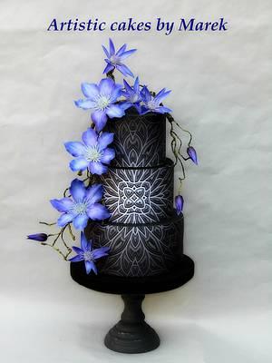 Wedding cake Clematis - Cake by Marek