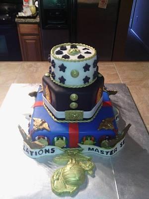 Marine Corps Retirement Cake #1 - Cake by Bella Noche Cakes