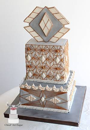 Art Déco Wedding Cake - Cake by Cláud' Art Sugar