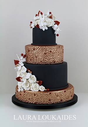 Black and Copper Wedding Cake - Cake by Laura Loukaides