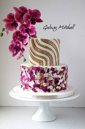 Purple orchid cake - Cake by Gulnaz Mitchell