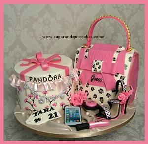 Pandora Gift Box with Guess Handbag cake with edible Pandora Bracelet - Cake by Mel_SugarandSpiceCakes