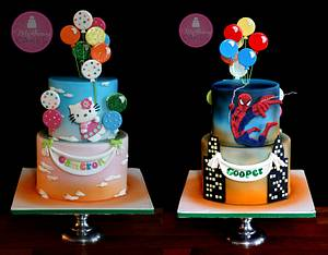 Double Sided Cake, Hello Kitty & Spiderman - Cake by Shawna McGreevy