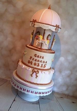 Carousel Christening Cake - Cake by Tiers of Indulgence