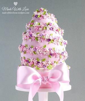 Pink Easter Egg Cake - Cake by Pamela McCaffrey
