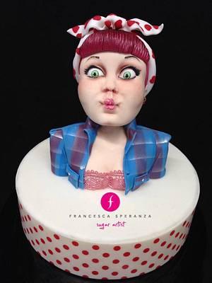 Pinup blowing bubble - Cake by Francesca Speranza - Sugar Artist