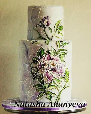 Stained glass peonies - Cake by Natasha Ananyeva (CakeVirtuoso Studio)