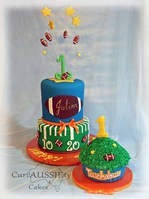 Football theme 1st birthday cake and smash cake - Cake by CuriAUSSIEty  Cakes