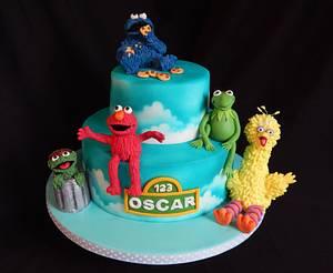 Sesame Street Christening cake - Cake by Elizabeth Miles Cake Design