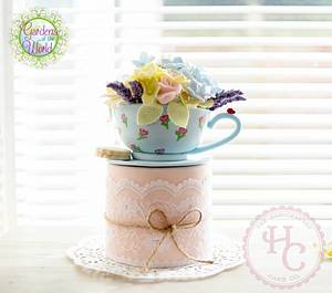 English Garden in a teacup - Gardens of the World Cake Collaboration - Cake by thehandcraftedcake