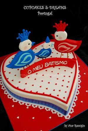 CHRISTENING LOVE BIRDS - Cake by Ana Remígio - CUPCAKES & DREAMS Portugal