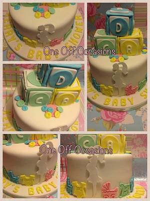 Unisex Baby Shower cake with building blocks, incorporating my logo! - Cake by OneOffOccasions