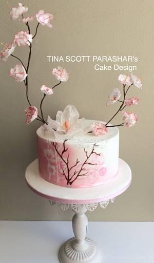 Cherry Blossoms  - Cake by Tina Scott Parashar's Cake Design