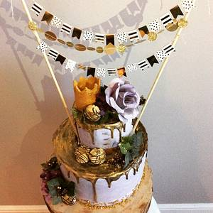 Gold chocolate drizzle Birthday cake - Cake by Shar
