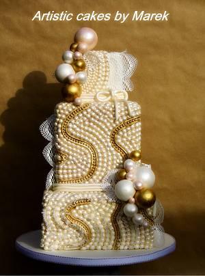 Wedding cake Pearls - Cake by Marek