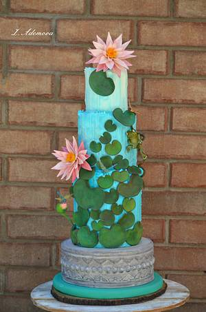 Water lilies garden cake - Cake by More_Sugar
