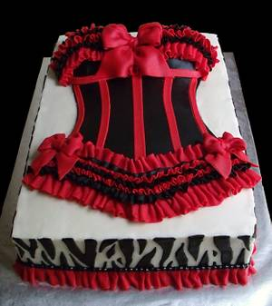 Sexy Red and Black Bustier Bridal Shower Cake - Cake by Katie Goodpasture