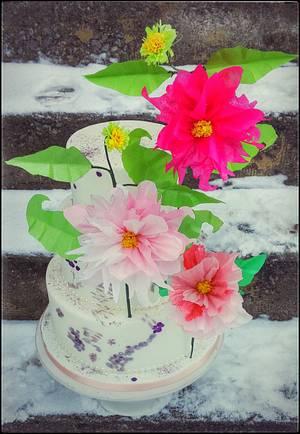 Tissue paper Dahlia flower cake  - Cake by Danijela Lilchickcupcakes