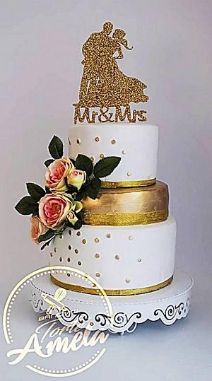 gold dust wedding cake - Cake by Torte Amela