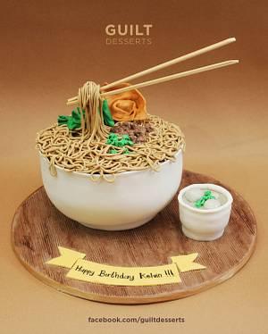 Flying Chopstick Noodle Cake - Cake by Guilt Desserts