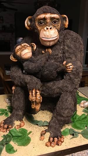 Mama and baby chimp - Cake by Kim