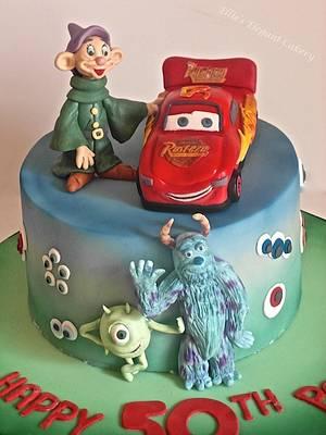 Cars, Dopey and Monster inc - Cake by Ellie @ Ellie's Elegant Cakery