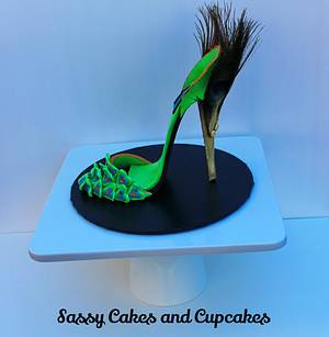 Green Peacock Sugar Shoe - Cake by Sassy Cakes and Cupcakes (Anna)