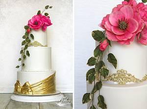 Gold & hot pink wedding cake - Cake by Lorna