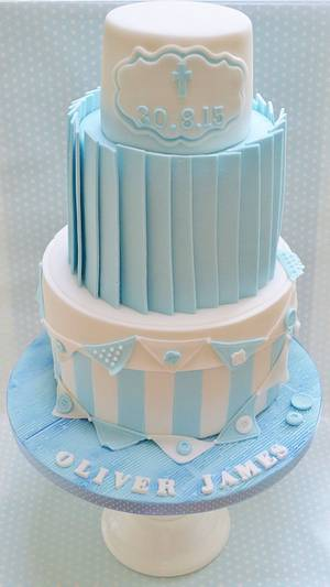 Baby boy christening cake - Cake by Roo's Little Cake Parlour
