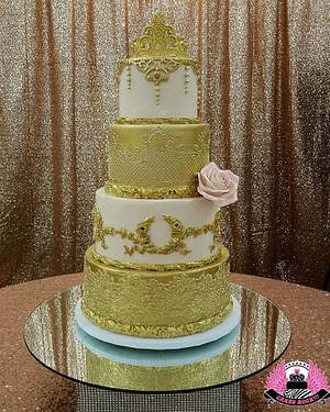 Gold and Blush Quinceanera Cake - Cake by Cakes ROCK!!!
