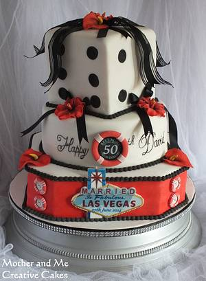 Vegas Wedding/50th - Cake by Mother and Me Creative Cakes