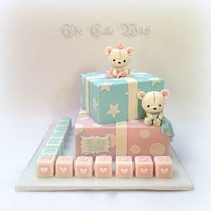 Pink and Blue Christening - Cake by Nessie - The Cake Witch