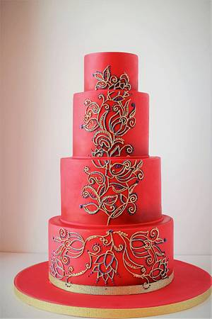 hand piped indian pattern  - Cake by the cake outfitter