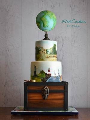 Travel themed Painted Cake  - Cake by HotCakes by Tara