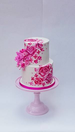 Pink floral wedding cake - Cake by The sugar cloud cakery