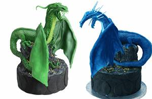 Water & Ice dragon versus Mossy Earth dragon - Cake by Artym