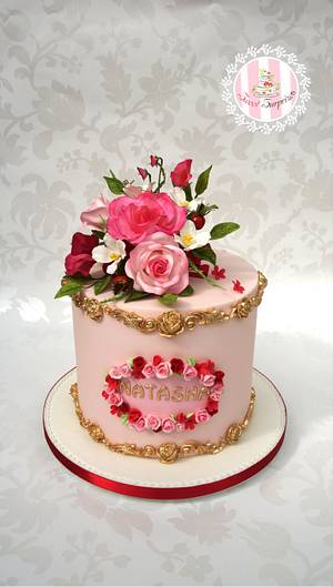 Pretty pink flowers - Cake by Sweet Surprizes