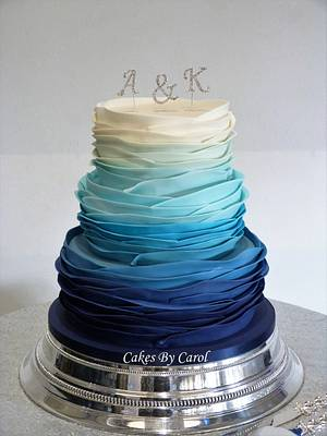 Blue Ombre Ruffles - Cake by Carol
