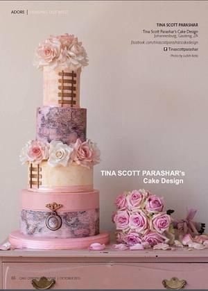 Cake Central magazine feature - Vintage Maps and Trains Wedding Cake - Cake by Tina Scott Parashar's Cake Design