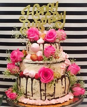 Semi-Naked Chocolate Cake - Cake by Heavenly Pink Shop Bakery