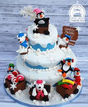 Penguin Winter Wonderland - Cake by Jean A. Schapowal